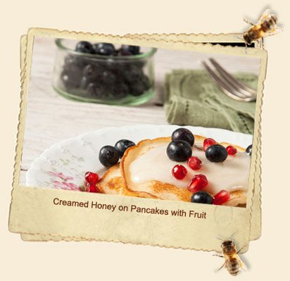 creamed honey pancakes fruit