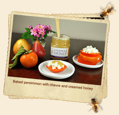 Baked Persimmon with chevre and creamed honey
